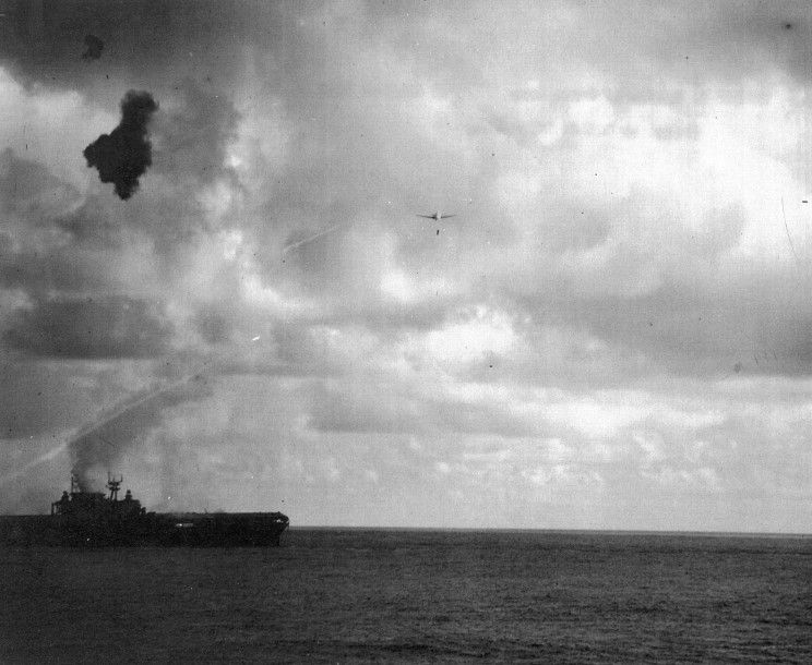 Another Kate drops a torpedo on the USS Hornet CV-8.
