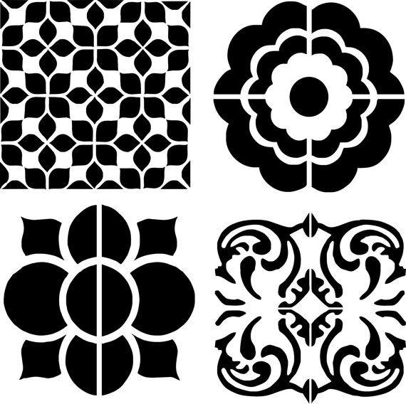 stencil stenciled cement tiles for kitchen trendy carrelage de ciment ciment et pochoir. Black Bedroom Furniture Sets. Home Design Ideas