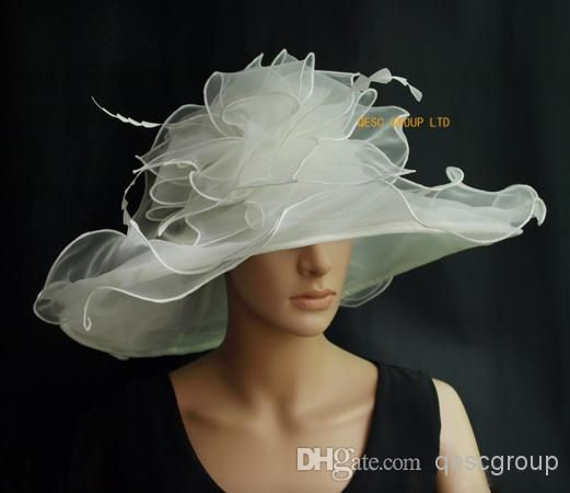 Ivory Big Organza Hat Church hat,Bridal Hat fascinatwith feathers ...