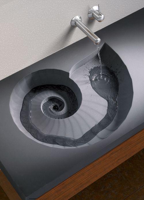 Fossil Hightech Ammonit Beton Waschbecken Diy Home Decor