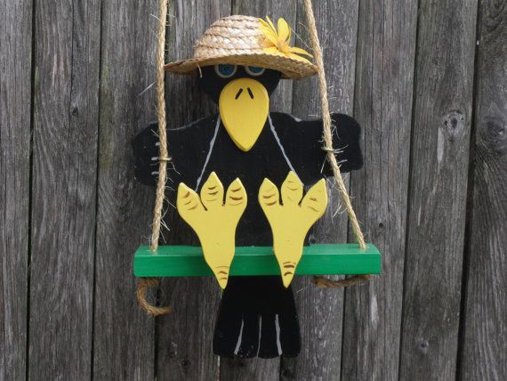 Swinging crow by alswoodenwhims on Etsy
