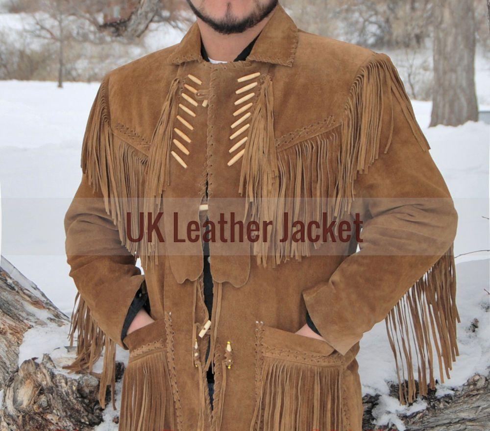 Mens Western Wear Brown Suede Leather Coat Fringe Bead Bones Handmade Cowboy Cheap Leather Jacket Mens Western Wear Designer Leather Jackets [ 880 x 1000 Pixel ]
