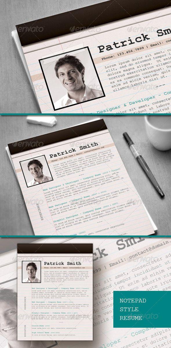 Notepad Style Cvresume By Resumepro Creative Resume With Notepad
