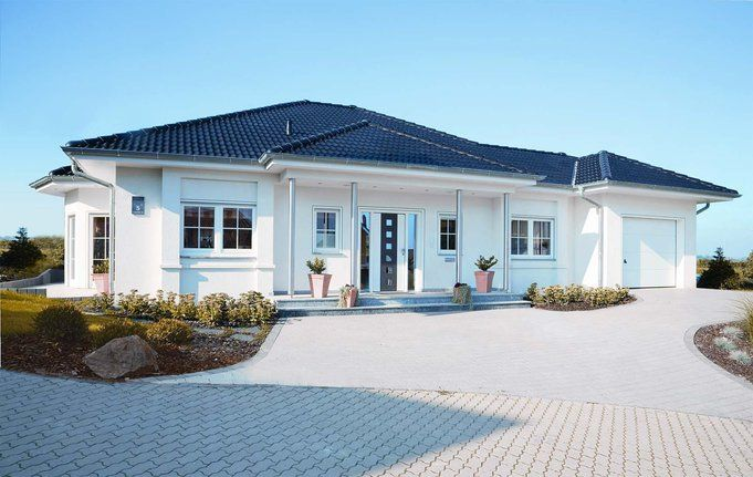 Haus bauen modern bungalow  fertighaus, günstig bauen So ähnlich wird unser Haus mal aussehen ...
