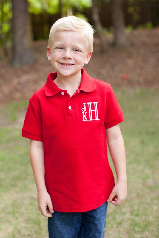 Southern Tots Boy's Red Short Sleeve Polo Shirt