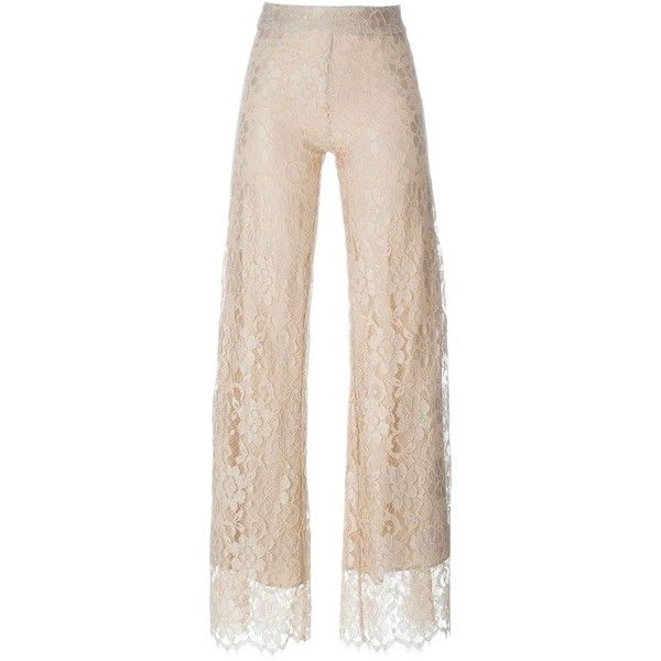 Christopher Kane floral lace trousers (2 080 AUD) ❤ liked on Polyvore featuring pants, floral print wide leg pants, floral pants, pink pants, back zipper pants and wide leg pants
