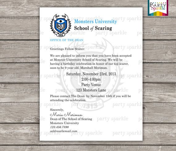 PRINTABLE Monster University Acceptance Letter Invitation - acceptance letters pdf