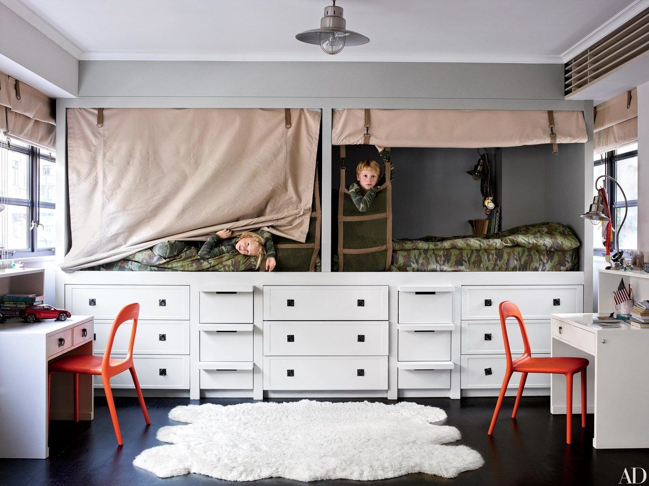Loft bed with desk pottery barn  The Genius Small Bedroom Trick That Works for Kids u Adults