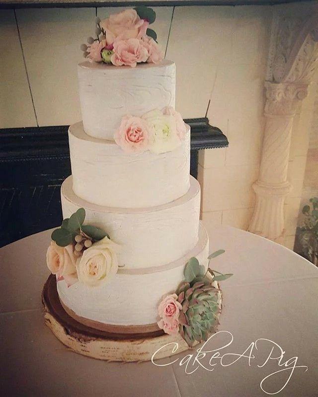 Rustic Whitewashed Wood Bark Wedding Cake Bakery Tampa, FL
