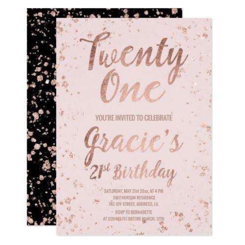 Faux Rose Gold Confetti Blush 21st Birthday Name Invitation Zazzle Com 21st Birthday Invitations 30th Birthday Invitations Rose Gold Confetti