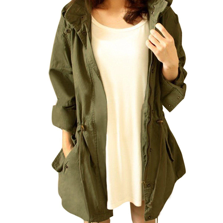bc2e68b41cc8 Cekaso Women's Anorak Jacket Lightweight Drawstring Hooded Military Parka  Coat at Amazon Women's Coats Shop