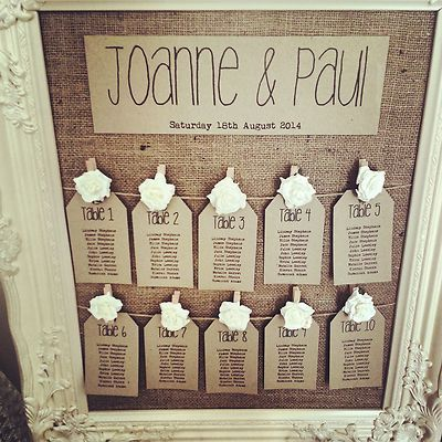 Rustic Antique Framed Vintage Shabby Chic Wedding Table Seating Plan