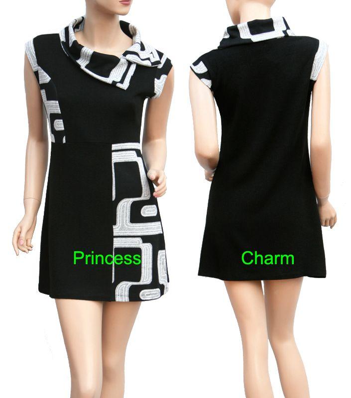 70s Retro Geometric Shift Dress Black Grey With Asymmetric Collar