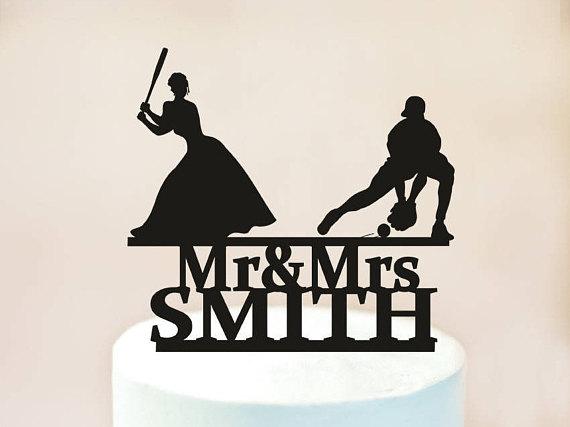 Baseball Wedding Cake Topper Wedding Cake Toppermr And Mrs Etsy Baseball Wedding Cakes Wedding Cake Toppers Baseball Wedding