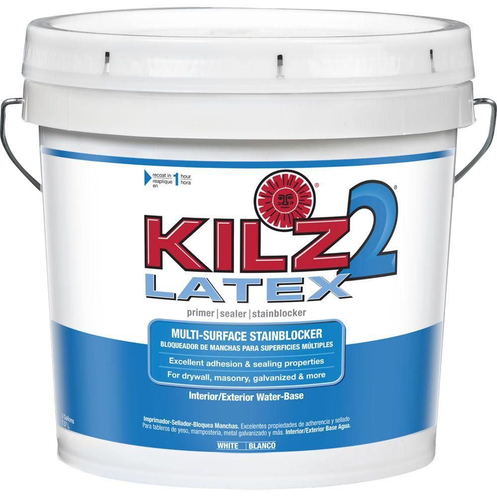Kilz 2 All Purpose 2 Gal White Interior Exterior Multi Surface Primer Sealer And Stain Blocker 20005 The Home Depot Exterior Primer Kilz Interior And Exterior