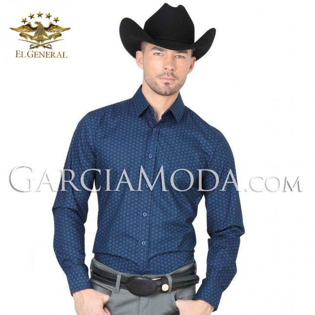 Camisa El General Western Wear 40405 Royal Blue Vaquero Western