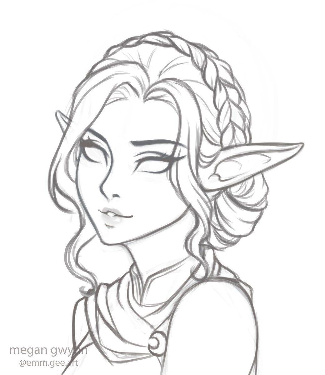 Megantron On Twitter My Dnd Babe Dungeonsanddragons Ranger Moonelf Nightelf Art Sketches Megantron Twitter In 2020 Elf Drawings Sketches Drawing Sketches