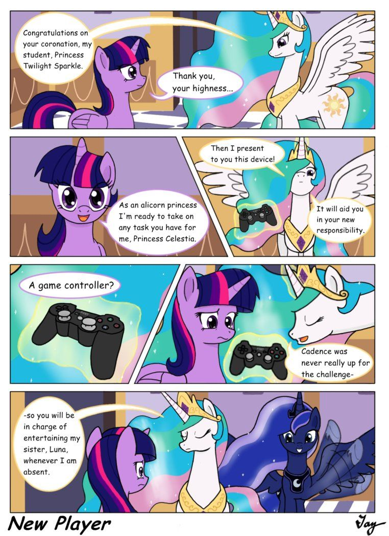 Princess Celestia Funny Comics  Mlpfim - New Player By -7117