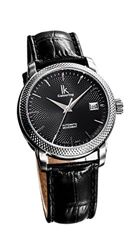 Fanmis Luxury Mens Womens Date Automatic Mechanical Wristwatch Black Argyle Dial Leather Strap -- You can find more details by visiting the image link.