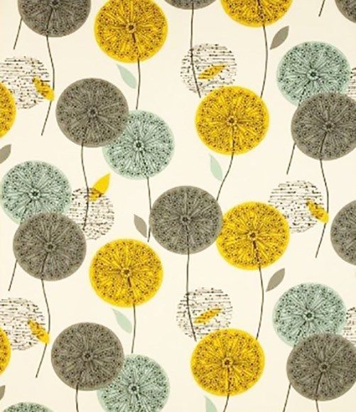 3m fabric 50s 60s retro vtg scandinavian Heals era DIY curtains dandelion clocks