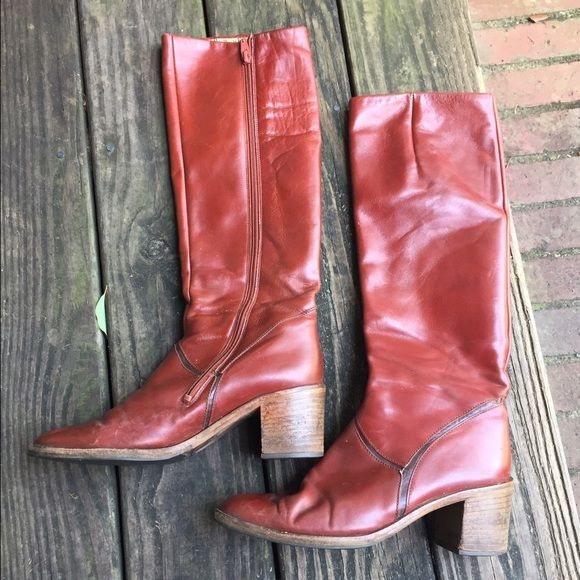 ad49638baea Vintage Gabor Boots leather size 6.5 fit 7.5 brown These vintage zip up  boots hit just below the knee and are gorgeous. Supple Brazilian leather.