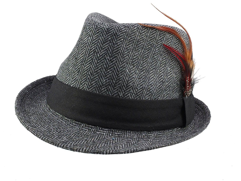 19072e5ce Men's 1940's / 1950's Style Herringbone Fedora Hat Retro Americana ...