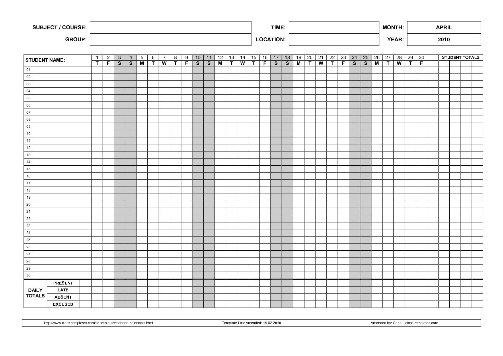 Printable Attendance Calendar  Printable Attendance Calendar