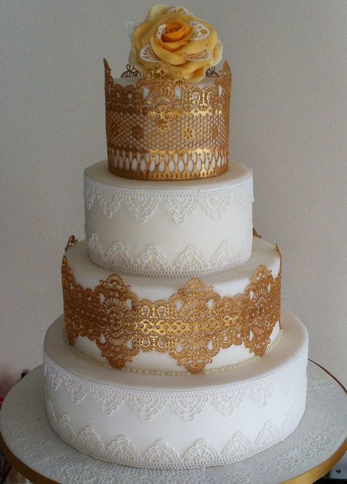 Gold And White Edible Lace Cake With Magic Decor Lace Mat By