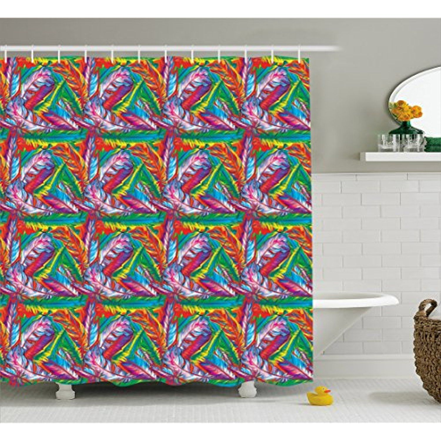 Feather Shower Curtain by Ambesonne, Vibrant Color Contrast Exotic ...