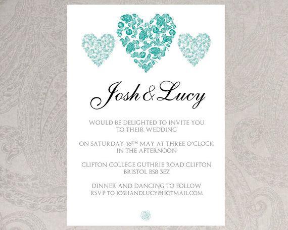 Wedding invitation template (trio of hearts) \u2013 DOWNLOAD PRINTABLE - microsoft word template invitation