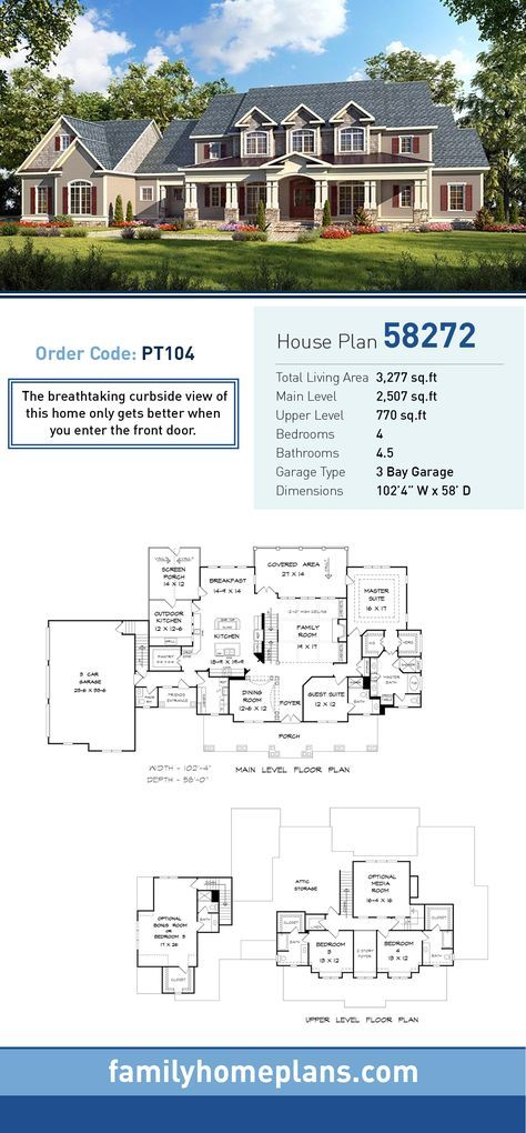 Traditional House Plan 58272 Total Living