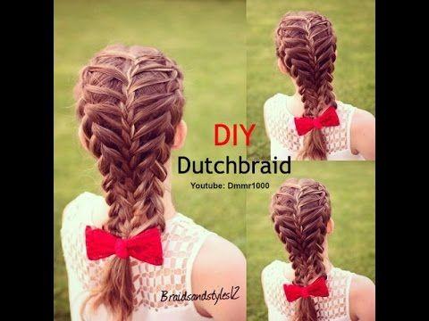 (Feathered ) Dutch Braid Hair Tutorial on Yourself / Trenza Holandesa /invertida - YouTube