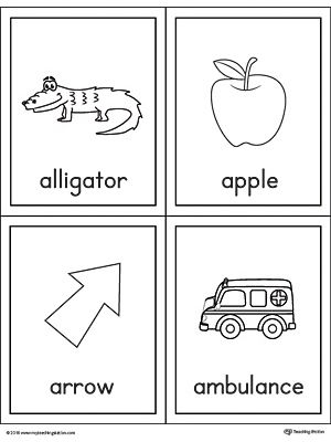 Letter A Words And Pictures Printable Cards Alligator Apple Arrow Ambulance Letter A Words Alphabet Word Wall Cards Printable Cards