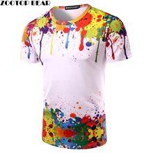 Pintura salpicada de las Tapas Del Verano camisa de Manga Corta de Los  Hombres de La 4e5974773d7