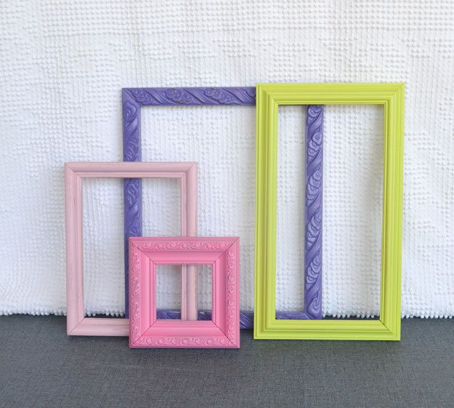 Purple Lime Green Pinks Bright Frames Set of 4 - Upcycled painted frame collection.. great for Gallery Wall Teen Girl Kids Bedroom Playroom