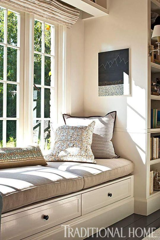 Sandwiched Between Floor To Ceiling Bookshelves, A Sunny Window Seat  Provides A Great Place To Read.   Photo: Michael Garland / Design: Chris  Barrett ...