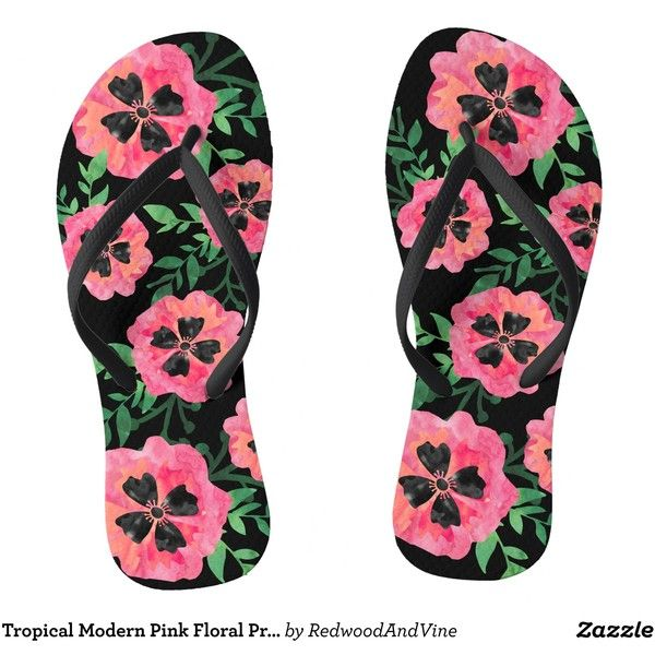 192f9674b258 Tropical Modern Pink Floral Print Flip Flops ( 31) ❤ liked on Polyvore  featuring shoes