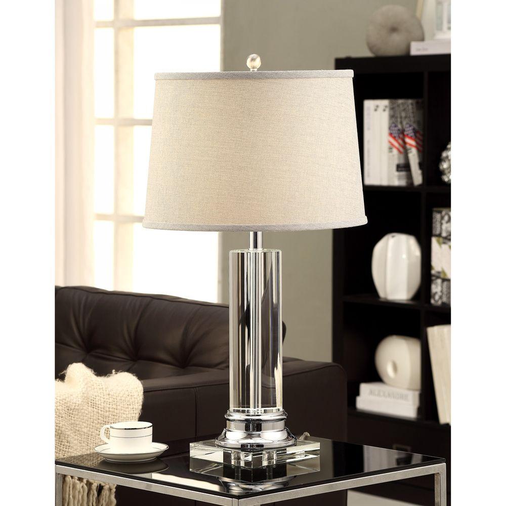 Crystal column table lamp with grey shade chrome columns crystal column table lamp with grey shade chrome aloadofball Choice Image