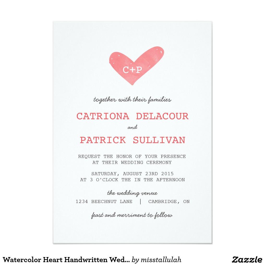 Watercolor Heart Handwritten Wedding Invitations | HEART WEDDING ...