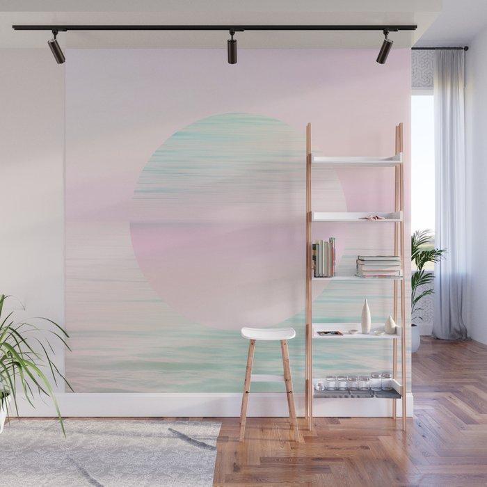 Dreamy Pastel Seascape & Moon - Aqua & Pink Wall Mural by dominiquevari