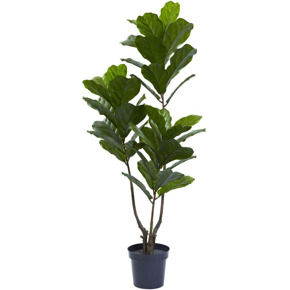 Nearly Natural 65 in. UV Resistant Indoor/Outdoor Fiddle Leaf Tree ...