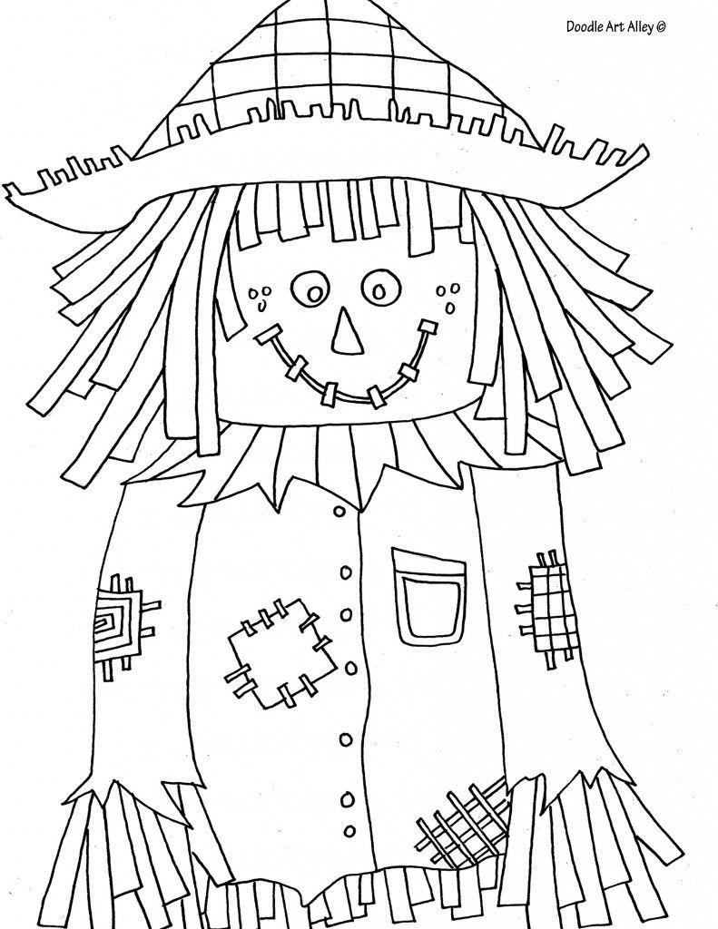 scarecrow coloring page Páginas para colorear, Arte
