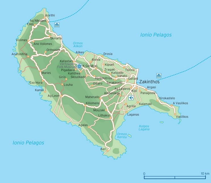 Zakynthos road map Maps Pinterest Greece islands