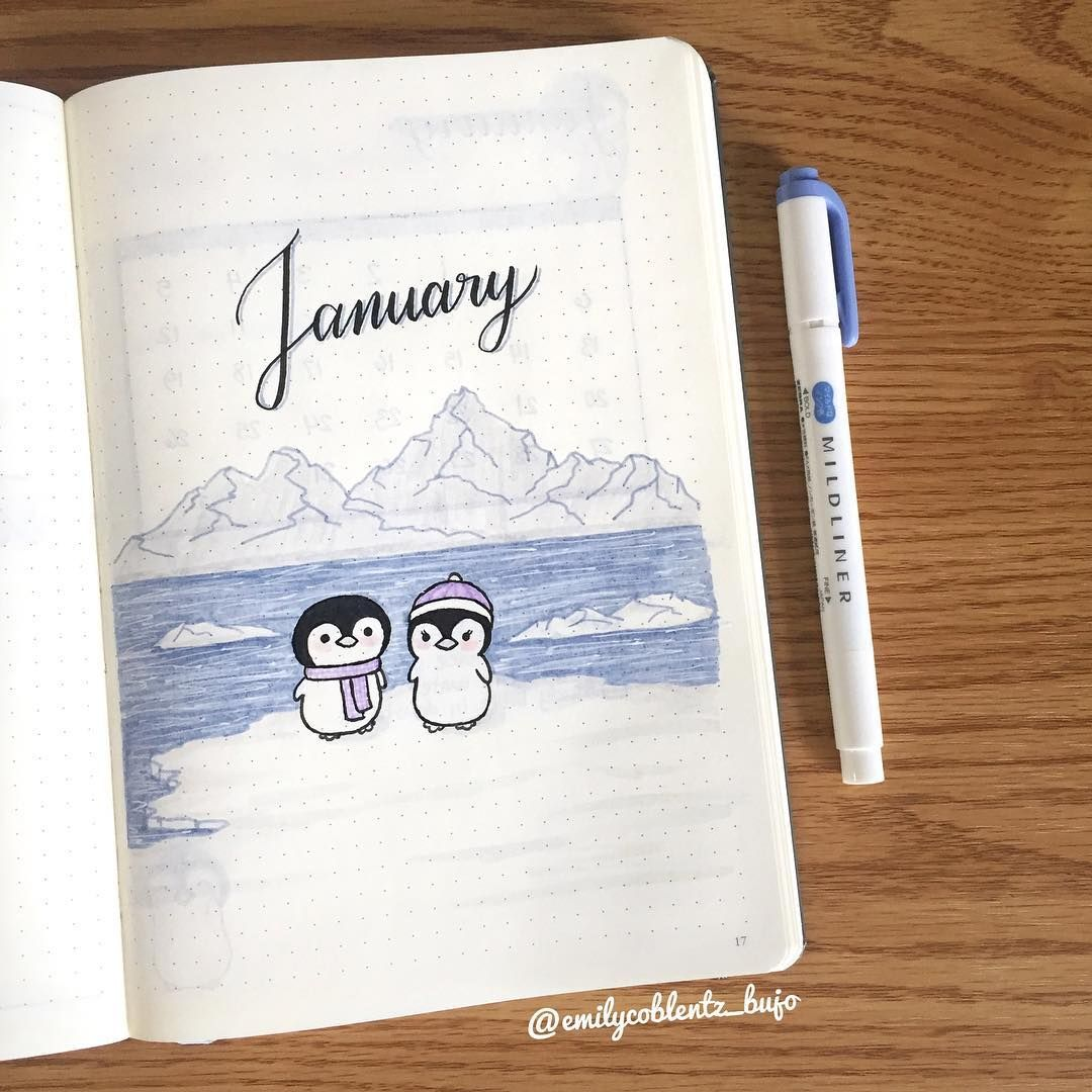 "Emily.Coblentz.Bujo on Instagram: ""The January cover of 2019. I decided last minute on a penguin theme. . . #bulletjournal #bulletjournaling #bujo #bulletjournalcommunity…"""