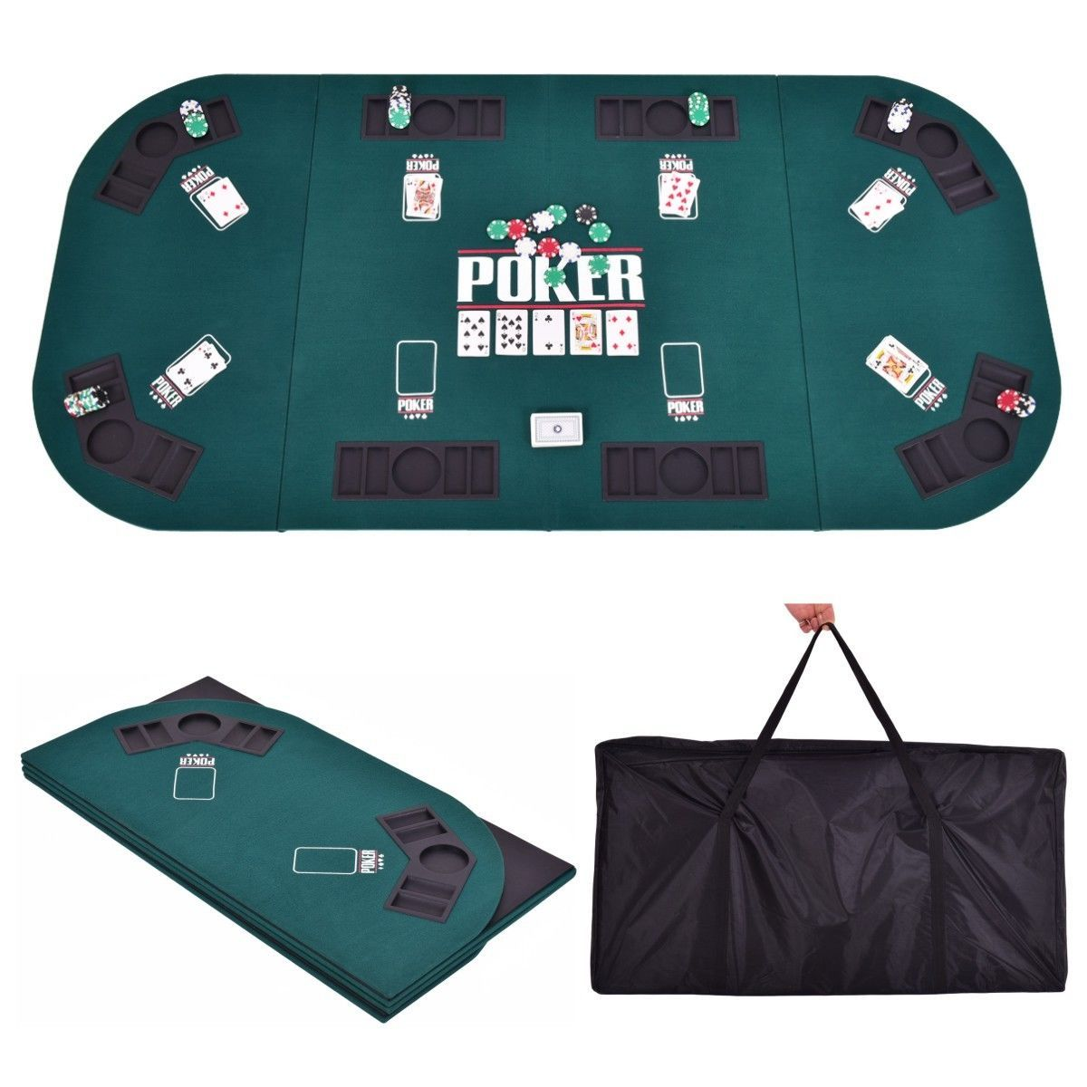 Folding Four Fold 8 Player Poker Table Top Carrying Case Portable Green Poker Table Top Poker Table Poker Table Plans