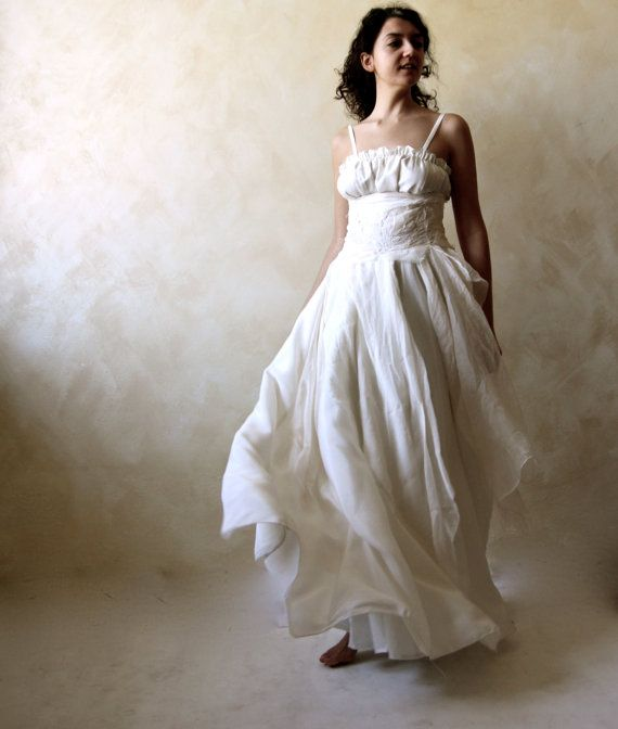 Bohemian Wedding Dress Bridal Gown Celtic Alternative Hippie Boho Silk Ballgown