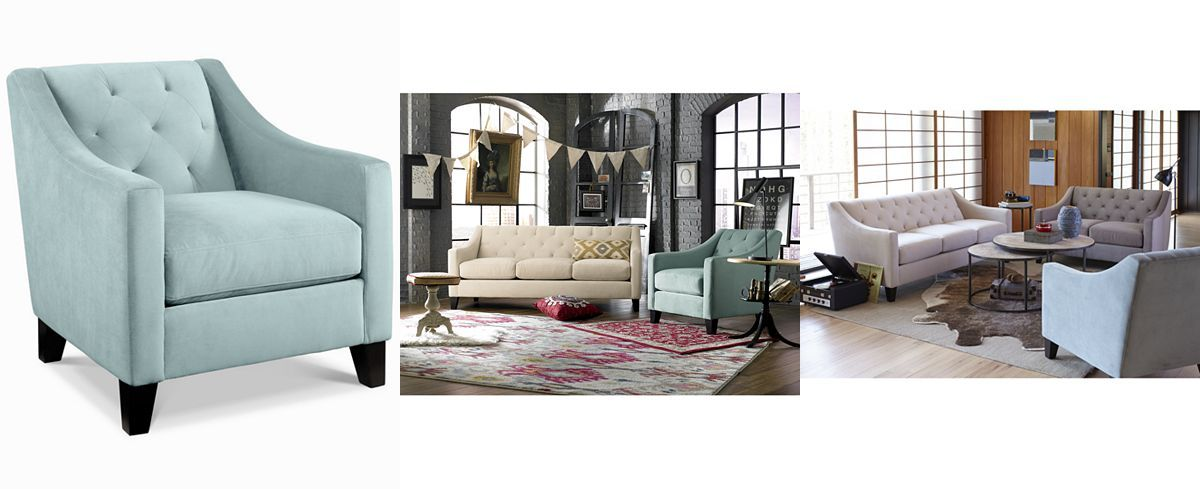 chloe velvet tufted chair - chairs & recliners - furniture