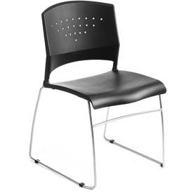 Black Stack Chair With Chrome Frame 47 Office Guest Chairs