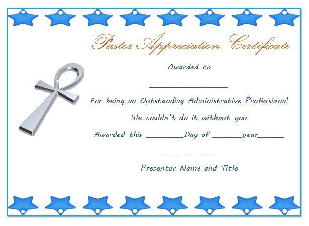 Pastor Anniversary Appreciation Certificate 1 Pastor Appreciation