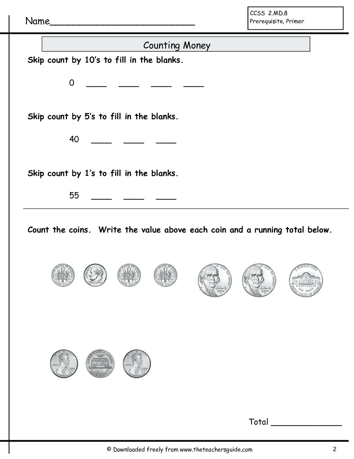 Legal Counting Money Worksheets